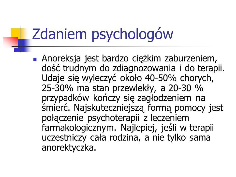 Zdaniem psychologów Anoreksja jest bardzo ciężkim zaburzeniem, dość trudnym do zdiagnozowania i do terapii.