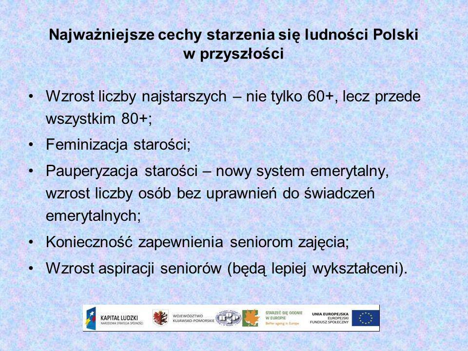Najważniejsze cechy starzenia się ludności Polski w przyszłości Wzrost liczby najstarszych – nie tylko 60+, lecz przede wszystkim 80+; Feminizacja sta