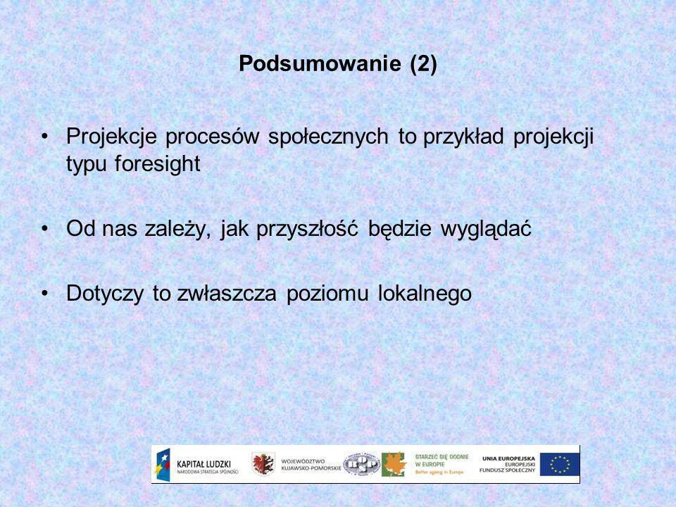 Podsumowanie (2) Projekcje procesów społecznych to przykład projekcji typu foresight Od nas zależy, jak przyszłość będzie wyglądać Dotyczy to zwłaszcz