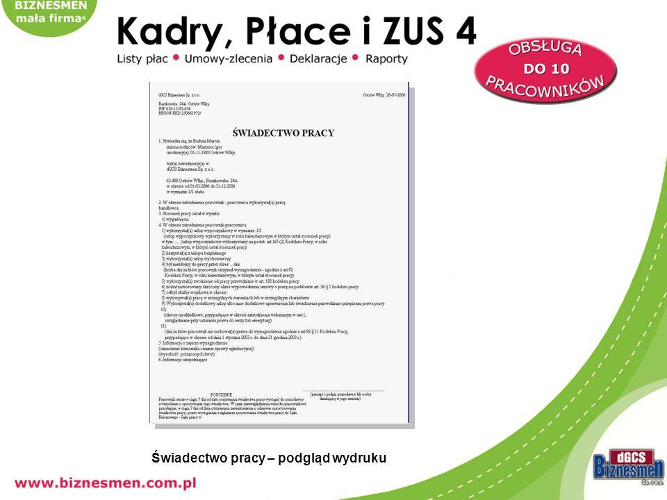 wydruk deklaracji (przykład – PIT 4) – możliwość edycji danych na podglądzie wydruku