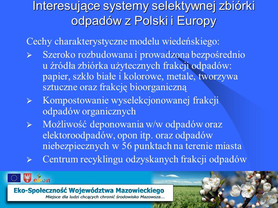 Interesujące systemy selektywnej zbiórki odpadów z Polski i Europy Prowadzony w spalarniach odzysk energii pozostałości odpadów posiadających wartość surowca energetycznego Pionowe i poziome zabezpieczone oraz monitorowane składowisko z energetycznym wykorzystaniem biogazu Kontrolowany i zrównoważony rynek odzyskanych surowców użytecznych i energii Giełda odzyskanych odpadów posiadających nadal walory użytkowe Spalarnia odpadów niebezpiecznych