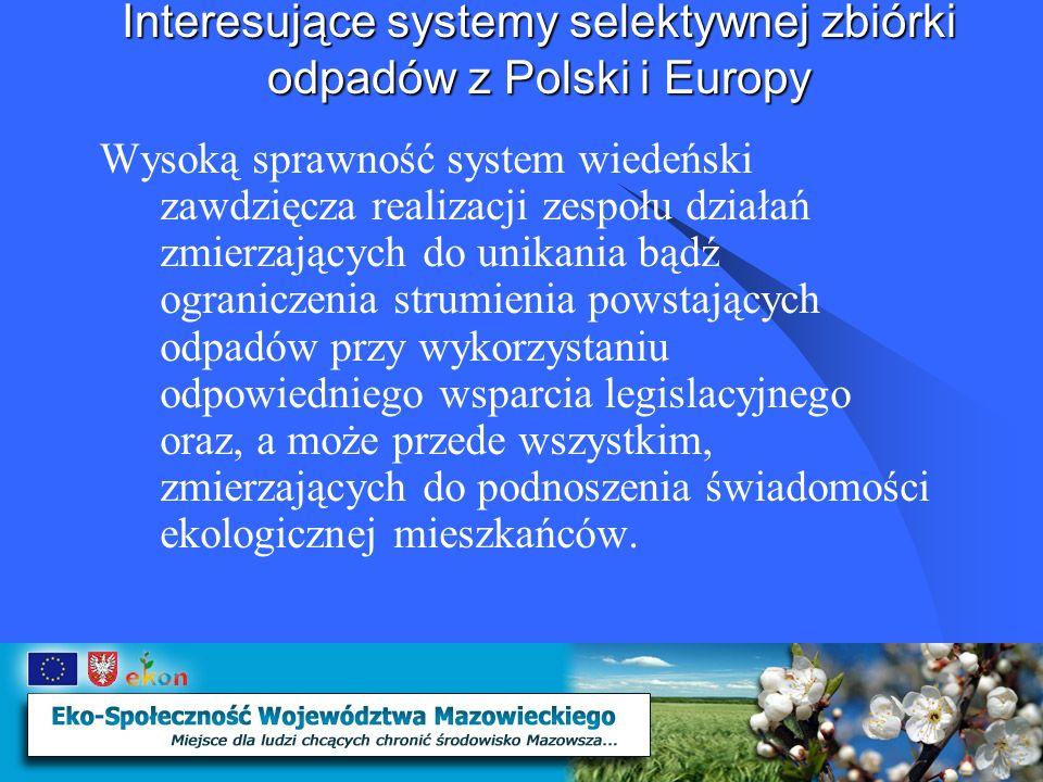 Interesujące systemy selektywnej zbiórki odpadów z Polski i Europy Efekty W 2004r w sumie 1 623 878 mieszkańców Wiednia wytworzyło 873 842 Mg odpadów komunalnych, z których: 540 415 Mg – odpady, których selektywnie nie udało się rozdzielić 333 428 Mg – to efekt frakcyjnie wyselekcjonowanych odpadów w ramach prowadzonej ich selektywnej zbiórki