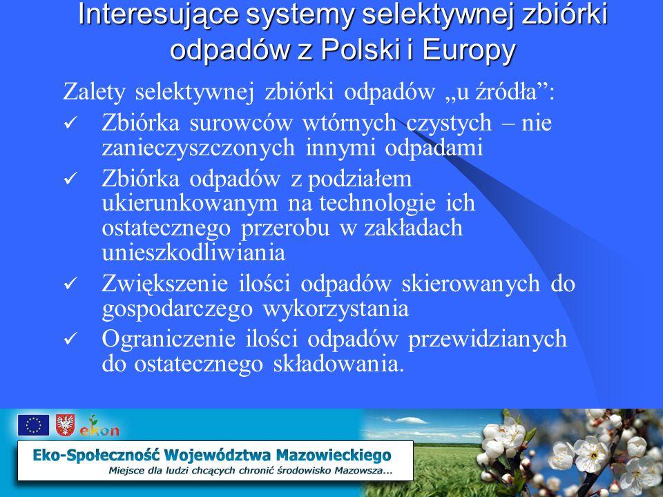 Interesujące systemy selektywnej zbiórki odpadów z Polski i Europy Kontenery ustawione w sąsiedztwie System polegający na ustawieniu w wyznaczonych newralgicznych punktach miasta, osiedla, wsi – specjalnych, odpowiednio oznaczonych pojemników do selektywnej zbiorki odpadów System ten szczególnie przydatny jest w miastach do obsługi budownictwa wielorodzinnego, na parkingach, stacjach benzynowych, przy dużych obiektach handlowych, ale również na terenach wiejskich.