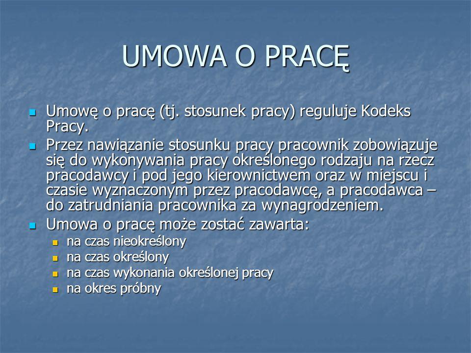 UMOWA O PRACĘ Umowę o pracę (tj. stosunek pracy) reguluje Kodeks Pracy. Umowę o pracę (tj. stosunek pracy) reguluje Kodeks Pracy. Przez nawiązanie sto