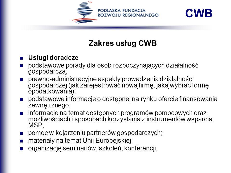 Zakres usług CWB Usługi doradcze podstawowe porady dla osób rozpoczynających działalność gospodarczą; prawno-administracyjne aspekty prowadzenia dział