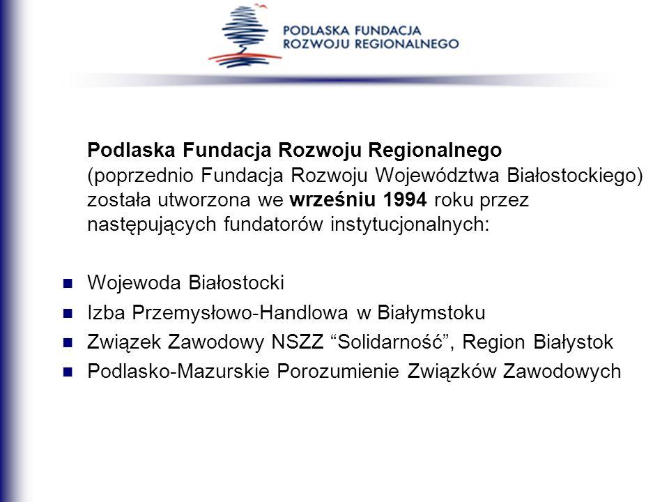 Podlaska Fundacja Rozwoju Regionalnego (poprzednio Fundacja Rozwoju Województwa Białostockiego) została utworzona we wrześniu 1994 roku przez następuj