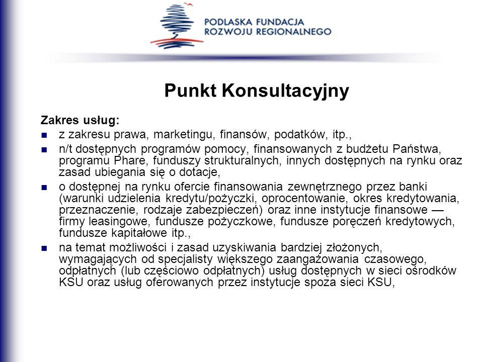 Punkt Konsultacyjny Zakres usług: z zakresu prawa, marketingu, finansów, podatków, itp., n/t dostępnych programów pomocy, finansowanych z budżetu Pańs