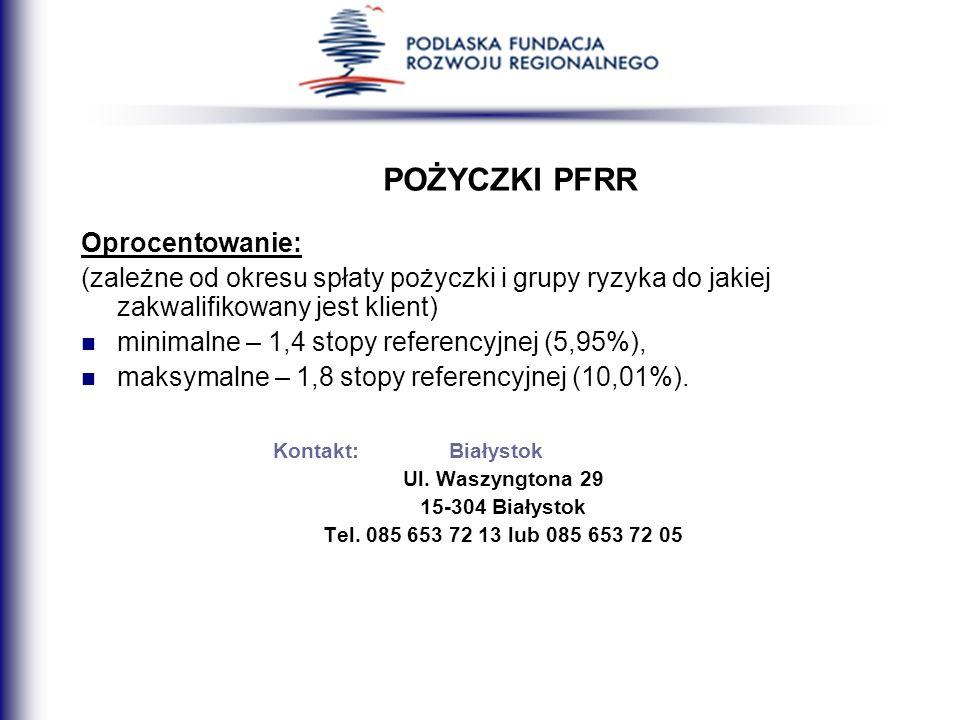 POŻYCZKI PFRR Oprocentowanie: (zależne od okresu spłaty pożyczki i grupy ryzyka do jakiej zakwalifikowany jest klient) minimalne – 1,4 stopy referency
