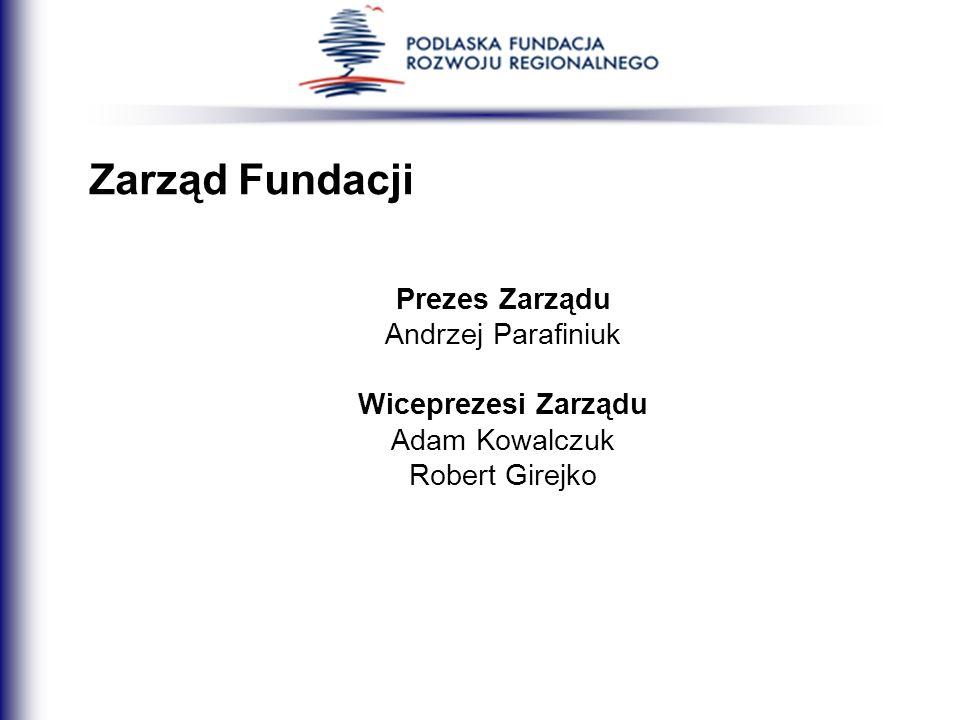 Zarząd Fundacji Prezes Zarządu Andrzej Parafiniuk Wiceprezesi Zarządu Adam Kowalczuk Robert Girejko