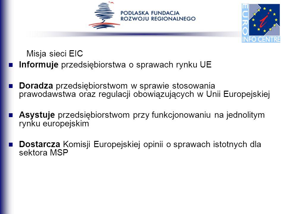 Misja sieci EIC Informuje przedsiębiorstwa o sprawach rynku UE Doradza przedsiębiorstwom w sprawie stosowania prawodawstwa oraz regulacji obowiązujący
