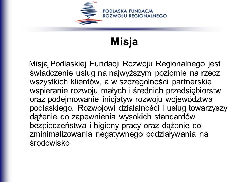 Misja Misją Podlaskiej Fundacji Rozwoju Regionalnego jest świadczenie usług na najwyższym poziomie na rzecz wszystkich klientów, a w szczególności par
