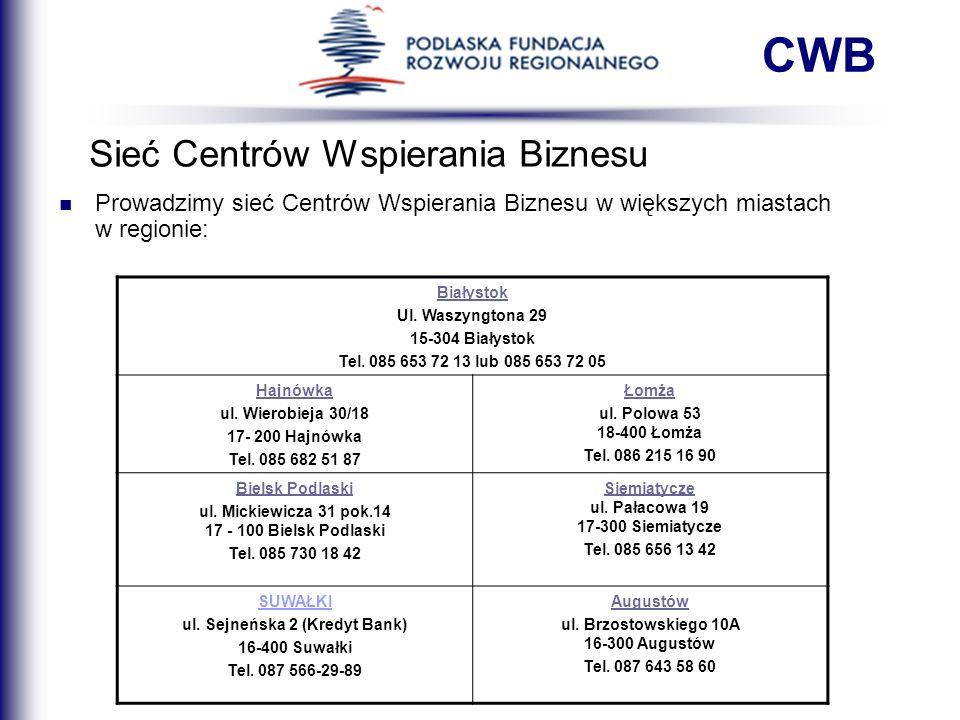 Sieć Centrów Wspierania Biznesu CWB Prowadzimy sieć Centrów Wspierania Biznesu w większych miastach w regionie: Białystok Ul. Waszyngtona 29 15-304 Bi