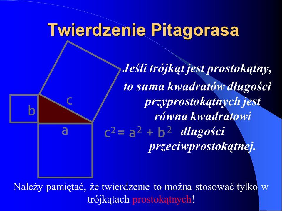 Nierówność trójkąta W każdym trójkącie o bokach, których długości wynoszą a, b i c zachodzi następująca nierówność, zwana nierównością trójkąta: a < b + c i analogicznie b < c + a c < a + b Trójkąt o bokach, których długości wynoszą a, b i c istnieje wtedy i tylko wtedy, gdy spełnione są te trzy nierówności.