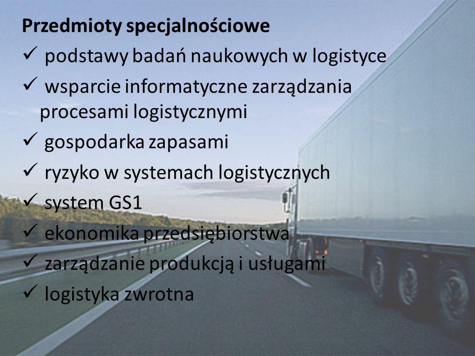 Przedmioty specjalnościowe podstawy badań naukowych w logistyce wsparcie informatyczne zarządzania procesami logistycznymi gospodarka zapasami ryzyko w systemach logistycznych system GS1 ekonomika przedsiębiorstwa zarządzanie produkcją i usługami logistyka zwrotna