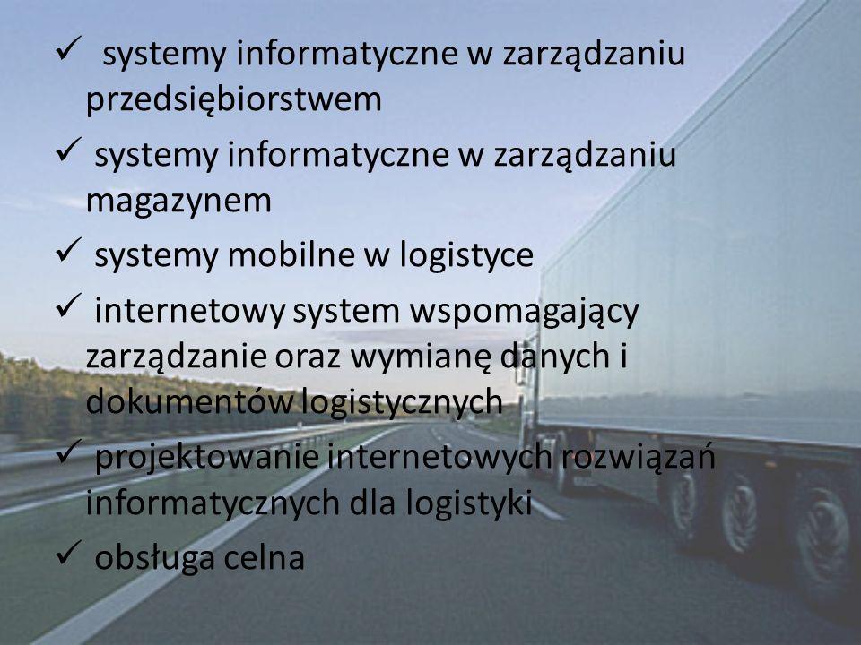 systemy informatyczne w zarządzaniu przedsiębiorstwem systemy informatyczne w zarządzaniu magazynem systemy mobilne w logistyce internetowy system wspomagający zarządzanie oraz wymianę danych i dokumentów logistycznych projektowanie internetowych rozwiązań informatycznych dla logistyki obsługa celna