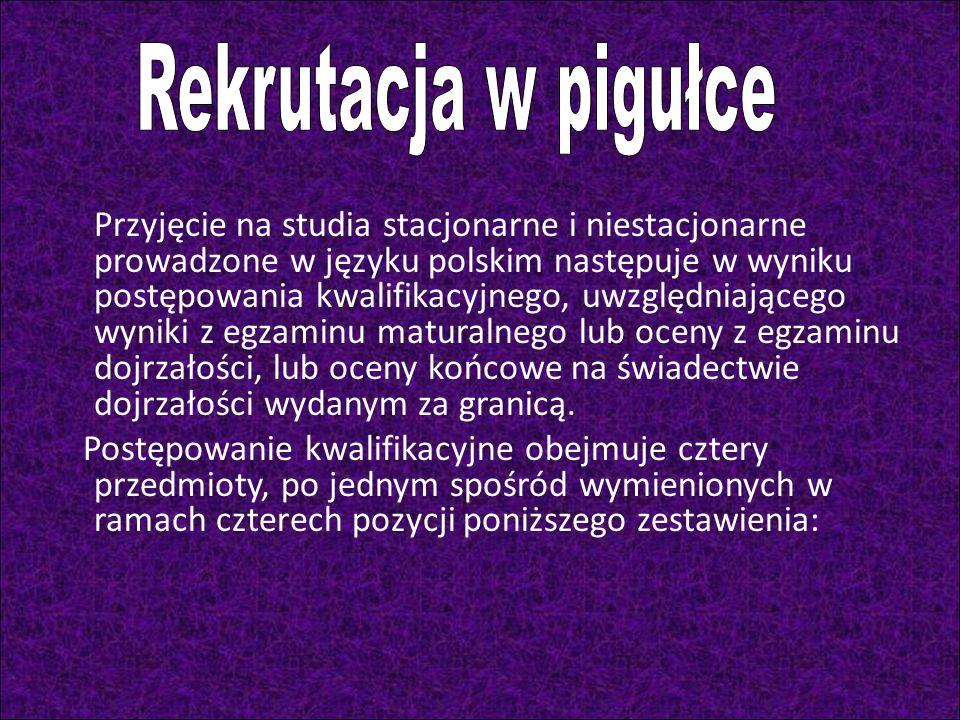 Przyjęcie na studia stacjonarne i niestacjonarne prowadzone w języku polskim następuje w wyniku postępowania kwalifikacyjnego, uwzględniającego wyniki z egzaminu maturalnego lub oceny z egzaminu dojrzałości, lub oceny końcowe na świadectwie dojrzałości wydanym za granicą.