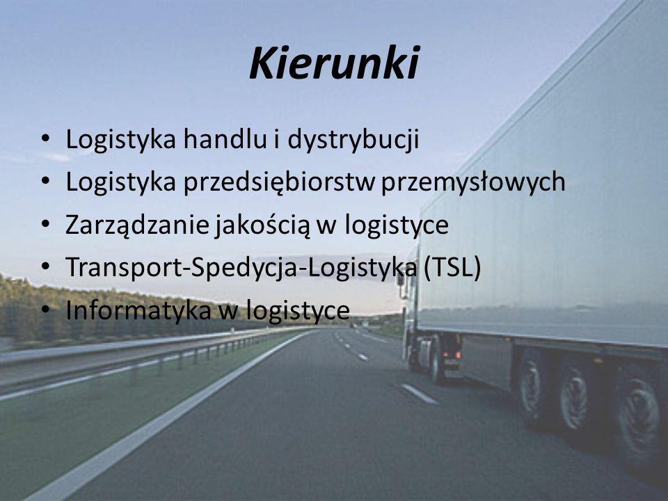 Kierunki Logistyka handlu i dystrybucji Logistyka przedsiębiorstw przemysłowych Zarządzanie jakością w logistyce Transport-Spedycja-Logistyka (TSL) Informatyka w logistyce