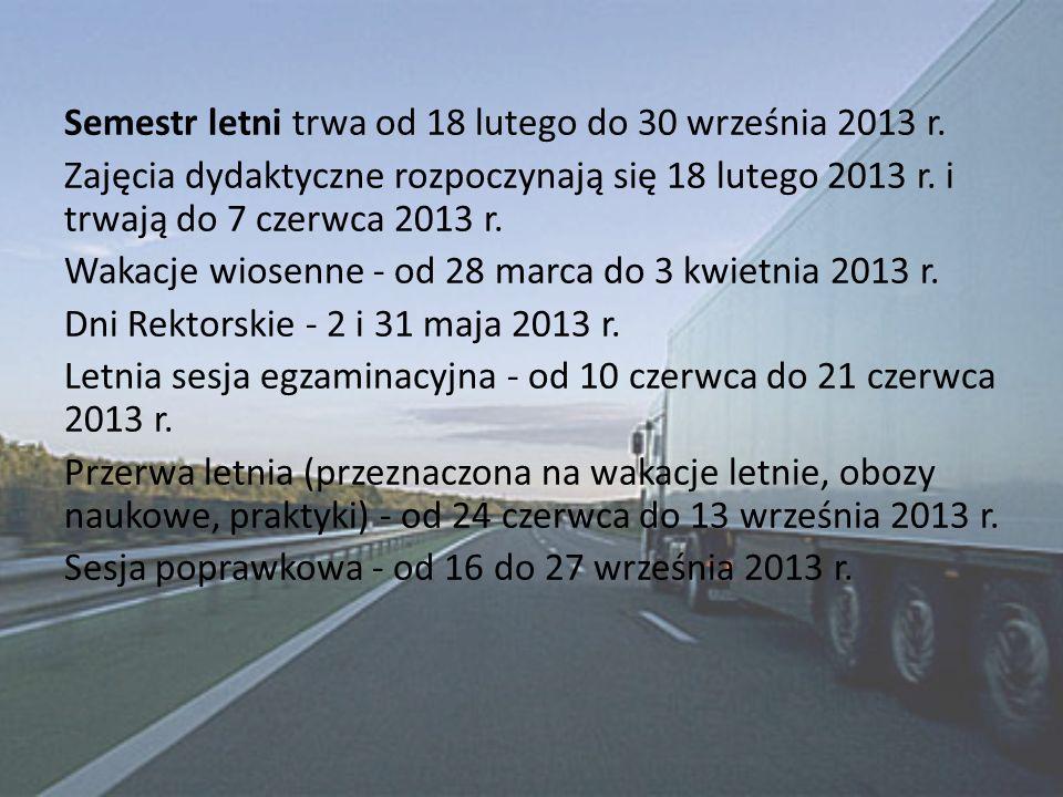 Semestr letni trwa od 18 lutego do 30 września 2013 r. Zajęcia dydaktyczne rozpoczynają się 18 lutego 2013 r. i trwają do 7 czerwca 2013 r. Wakacje wi