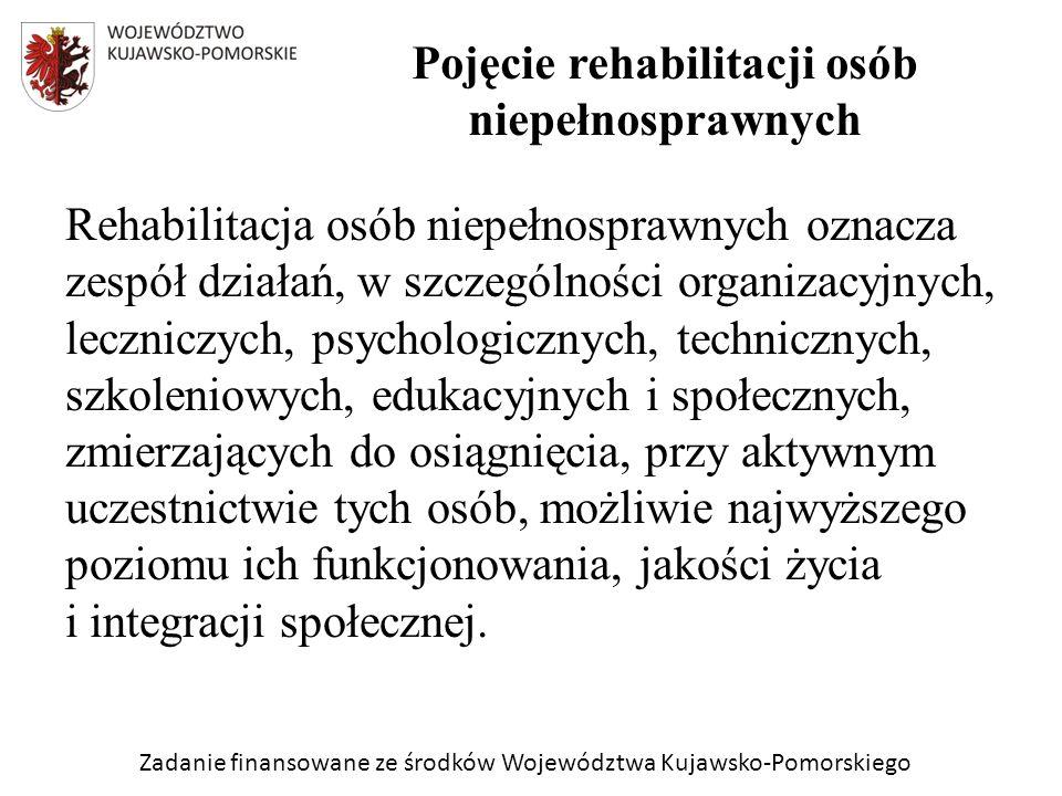 Zadanie finansowane ze środków Województwa Kujawsko-Pomorskiego Rehabilitacja osób niepełnosprawnych oznacza zespół działań, w szczególności organizacyjnych, leczniczych, psychologicznych, technicznych, szkoleniowych, edukacyjnych i społecznych, zmierzających do osiągnięcia, przy aktywnym uczestnictwie tych osób, możliwie najwyższego poziomu ich funkcjonowania, jakości życia i integracji społecznej.
