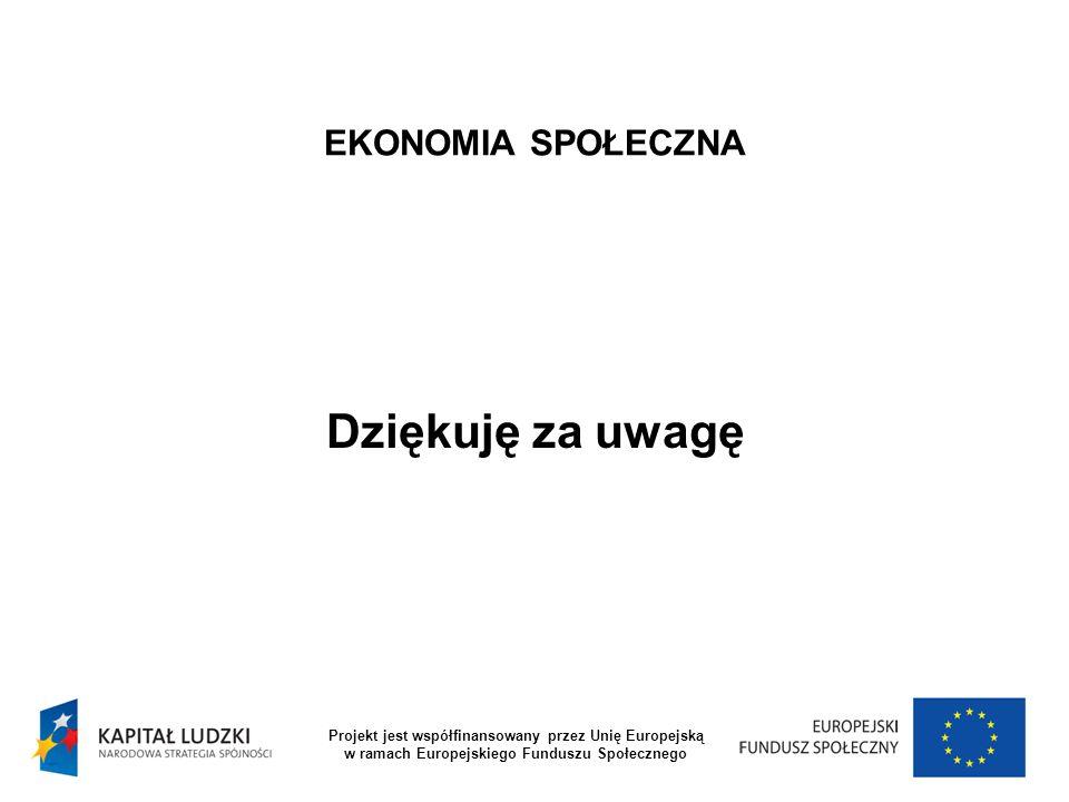 EKONOMIA SPOŁECZNA Dziękuję za uwagę Projekt jest współfinansowany przez Unię Europejską w ramach Europejskiego Funduszu Społecznego