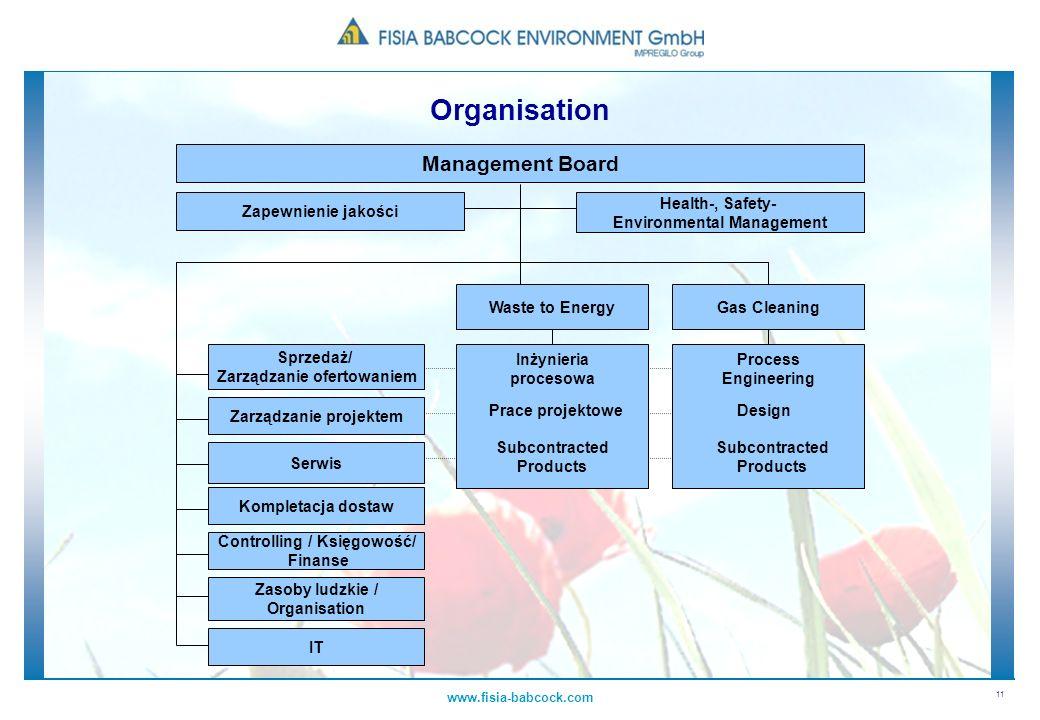 11 www.fisia-babcock.com Management Board Sprzedaż/ Zarządzanie ofertowaniem Zarządzanie projektem Serwis Kompletacja dostaw Controlling / Księgowość/