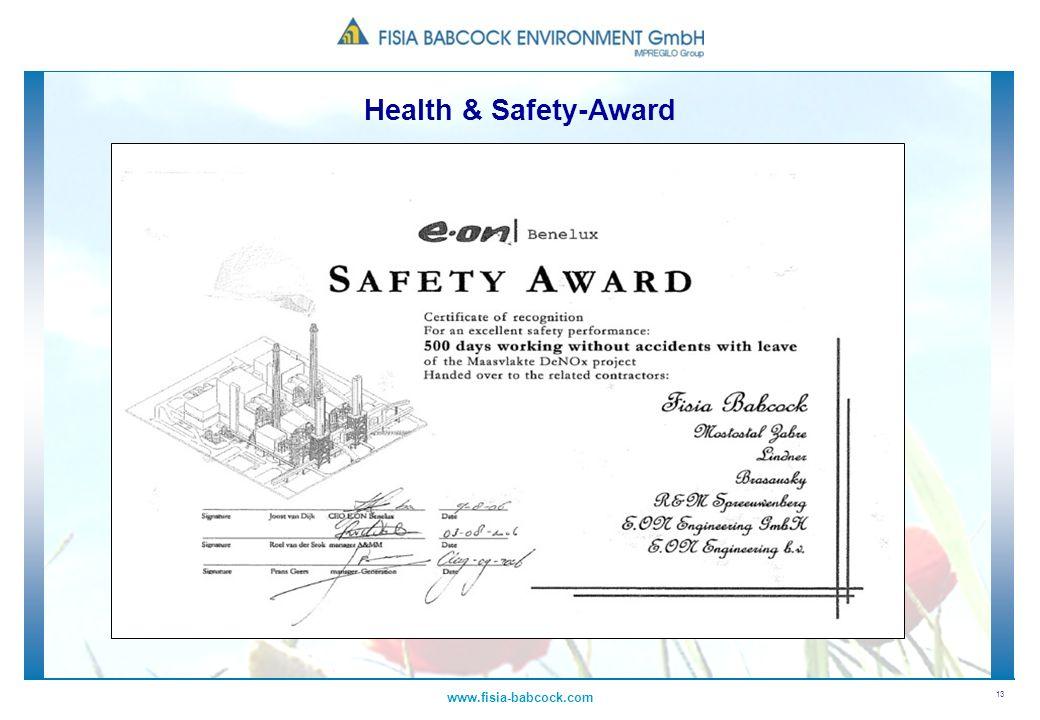 13 www.fisia-babcock.com Health & Safety-Award