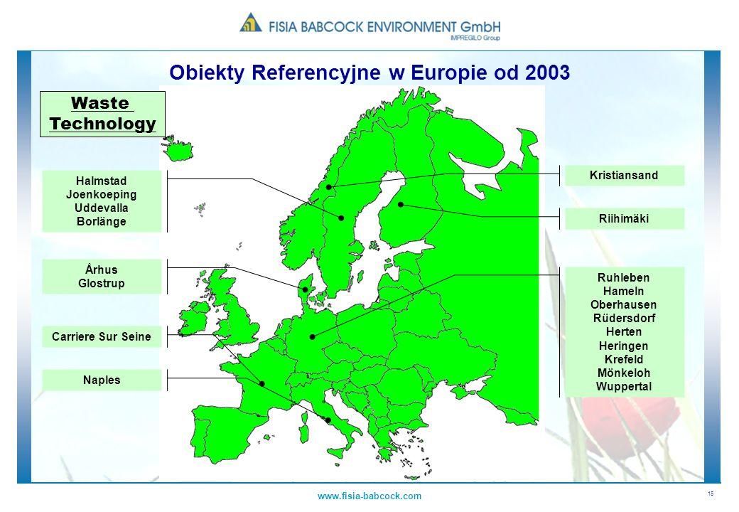 15 www.fisia-babcock.com Obiekty Referencyjne w Europie od 2003 Waste Technology Halmstad Joenkoeping Uddevalla Borlänge Ruhleben Hameln Oberhausen Rü