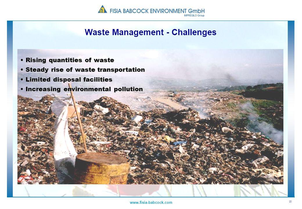 20 www.fisia-babcock.com Rising quantities of waste Rising quantities of waste Steady rise of waste transportation Steady rise of waste transportation