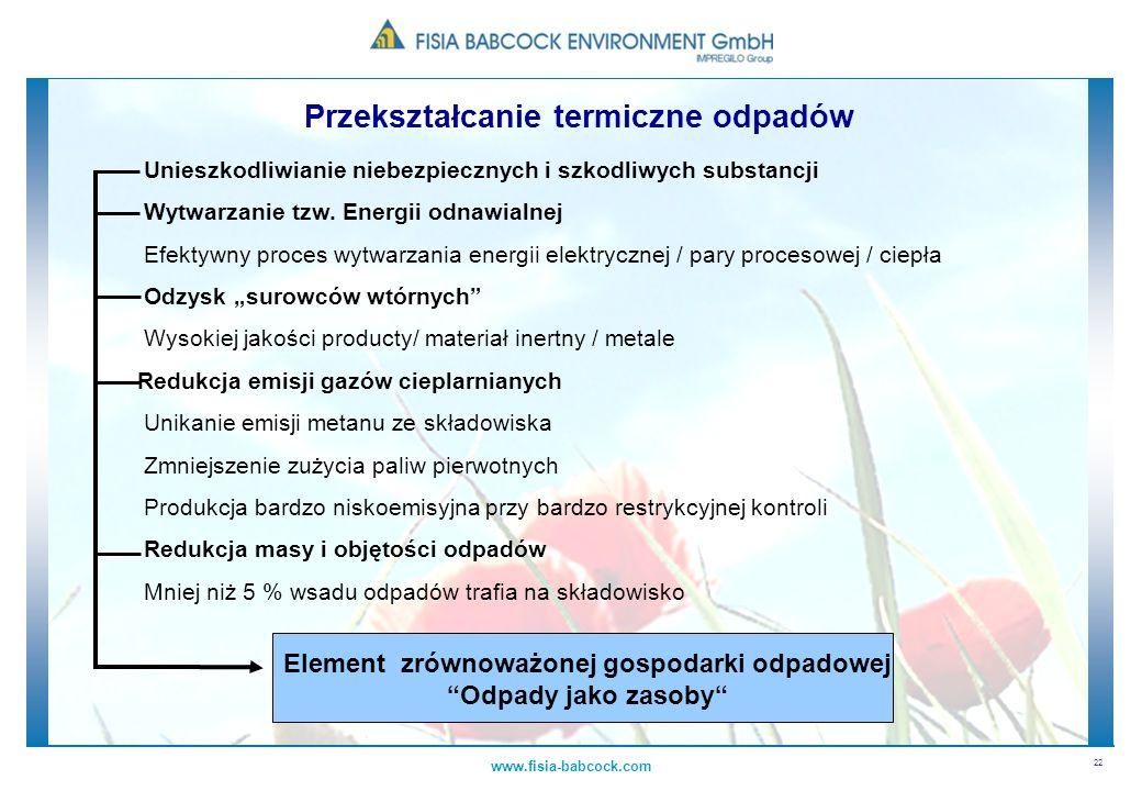 22 www.fisia-babcock.com Przekształcanie termiczne odpadów Unieszkodliwianie niebezpiecznych i szkodliwych substancji Wytwarzanie tzw. Energii odnawia