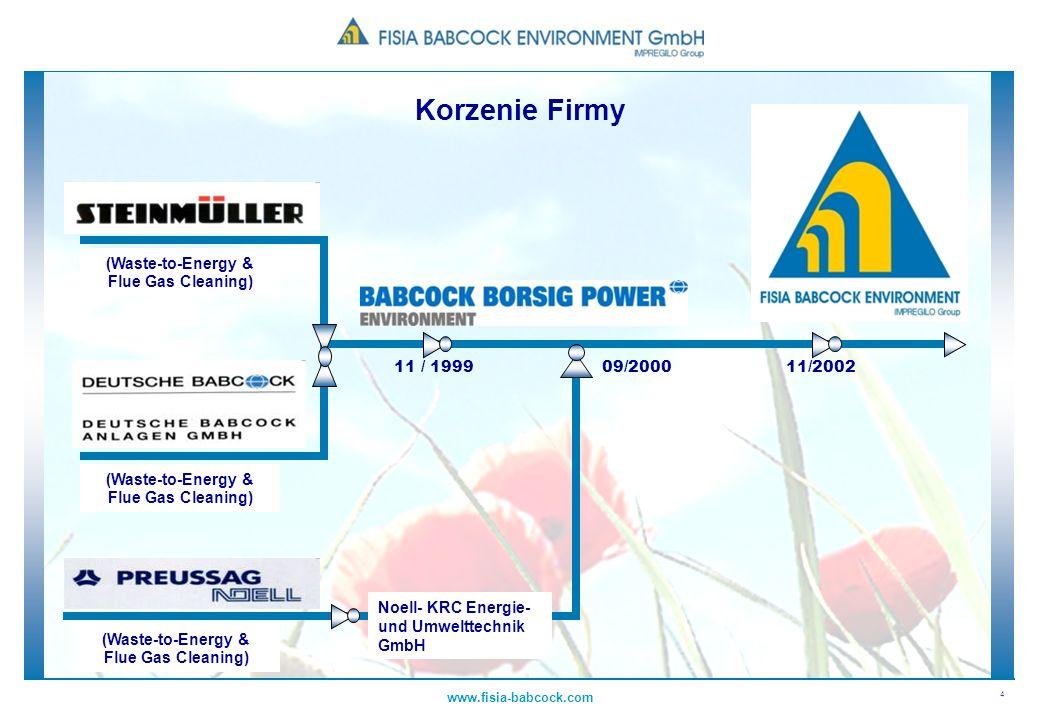 4 www.fisia-babcock.com 11 / 199909/200011/2002 Noell- KRC Energie- und Umwelttechnik GmbH (Waste-to-Energy & Flue Gas Cleaning) Korzenie Firmy