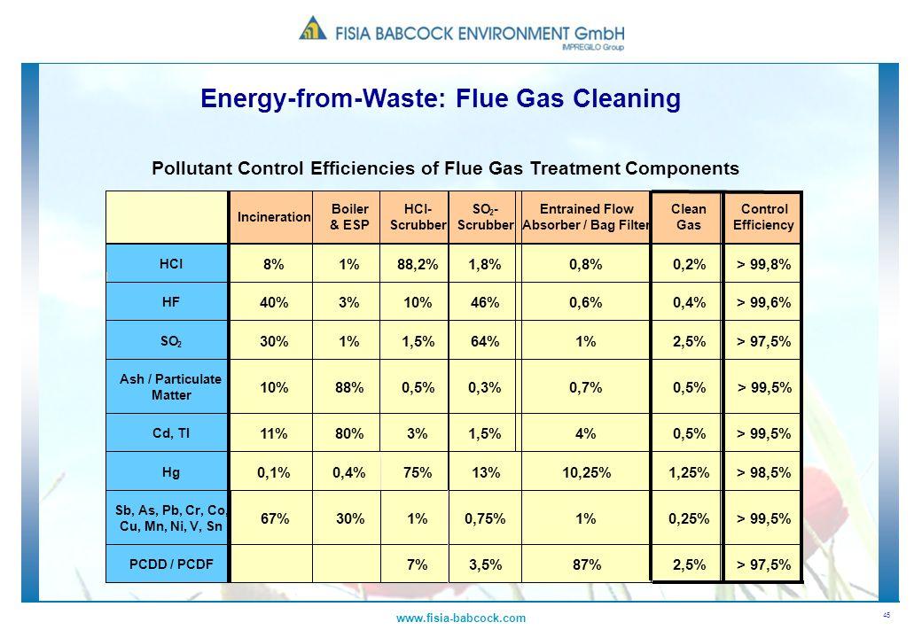 45 www.fisia-babcock.com Pollutant Control Efficiencies of Flue Gas Treatment Components Incineration Boiler & ESP HCl- Scrubber SO 2 - Scrubber Entra