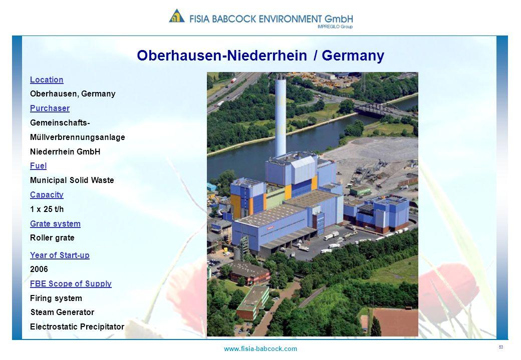 53 www.fisia-babcock.com Location Oberhausen, Germany Purchaser Gemeinschafts- Müllverbrennungsanlage Niederrhein GmbH Fuel Municipal Solid Waste Capa