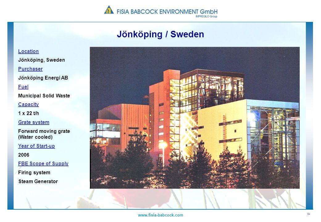54 www.fisia-babcock.com Location Jönköping, Sweden Purchaser Jönköping Energi AB Fuel Municipal Solid Waste Capacity 1 x 22 t/h Grate system Forward
