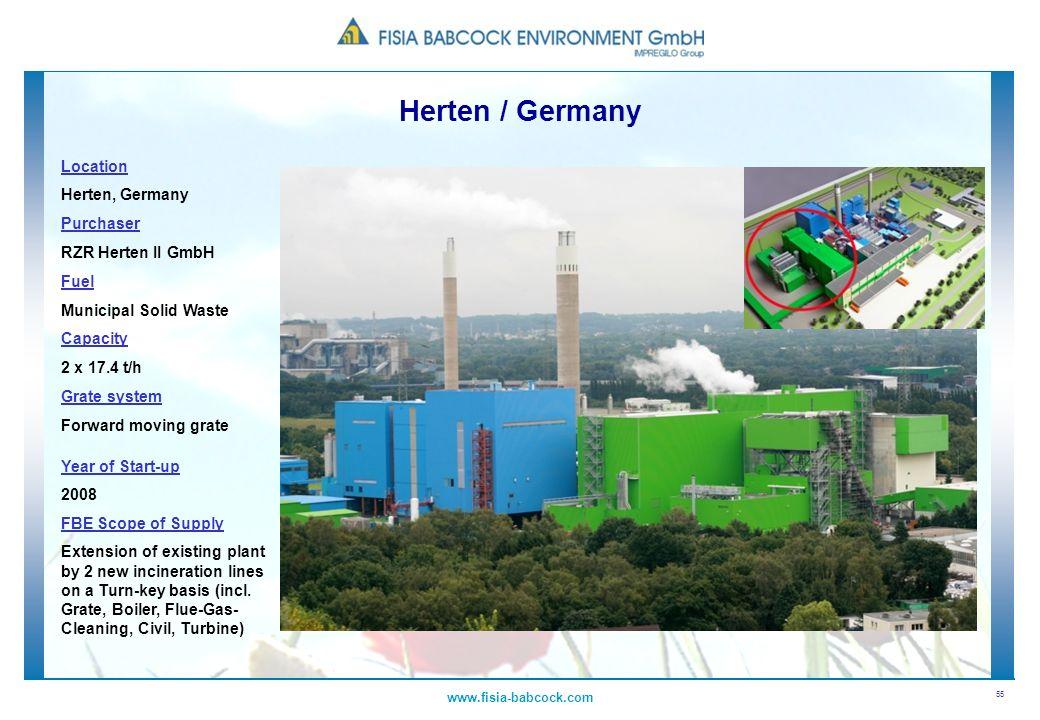 55 www.fisia-babcock.com Location Herten, Germany Purchaser RZR Herten II GmbH Fuel Municipal Solid Waste Capacity 2 x 17.4 t/h Grate system Forward m