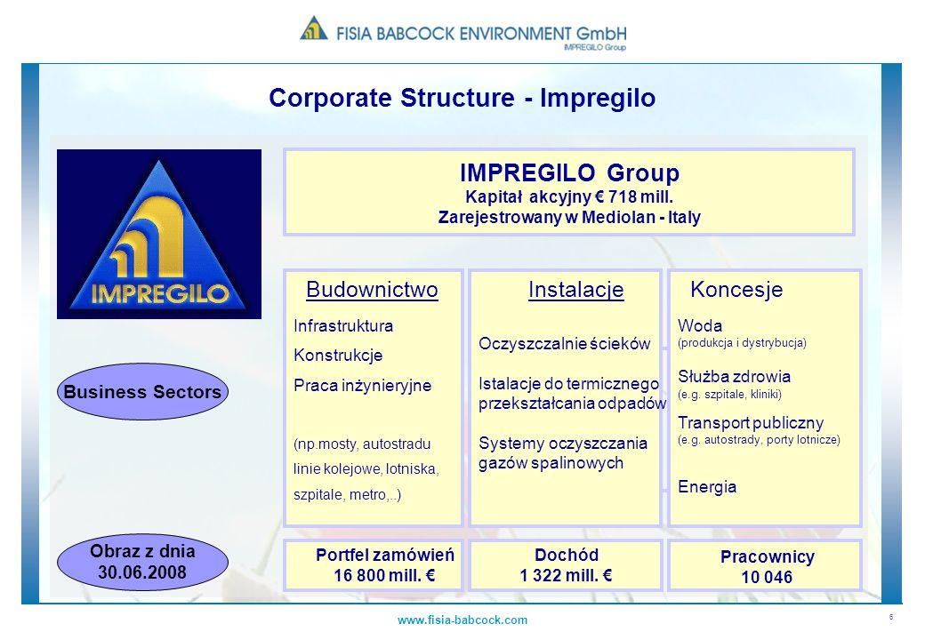 6 www.fisia-babcock.com IMPREGILO Group Kapitał akcyjny 718 mill. Zarejestrowany w Mediolan - Italy Budownictwo Infrastruktura Konstrukcje Praca inżyn