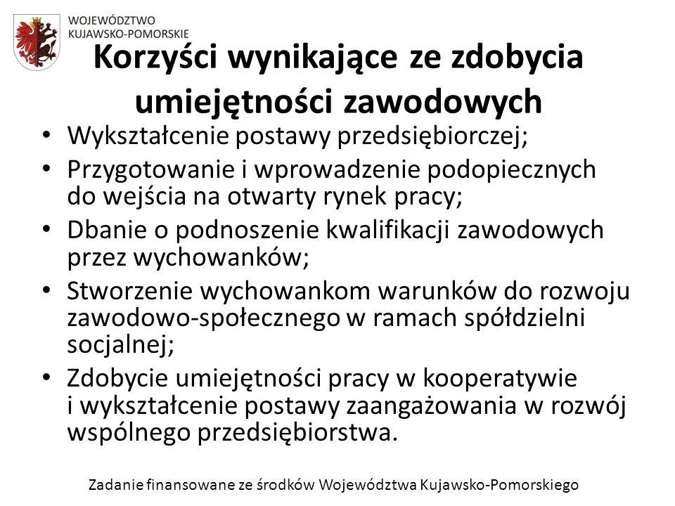 Zadanie finansowane ze środków Województwa Kujawsko-Pomorskiego Wykształcenie postawy przedsiębiorczej; Przygotowanie i wprowadzenie podopiecznych do