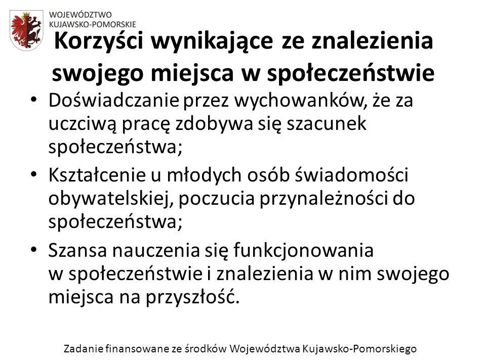 Zadanie finansowane ze środków Województwa Kujawsko-Pomorskiego Doświadczanie przez wychowanków, że za uczciwą pracę zdobywa się szacunek społeczeństw