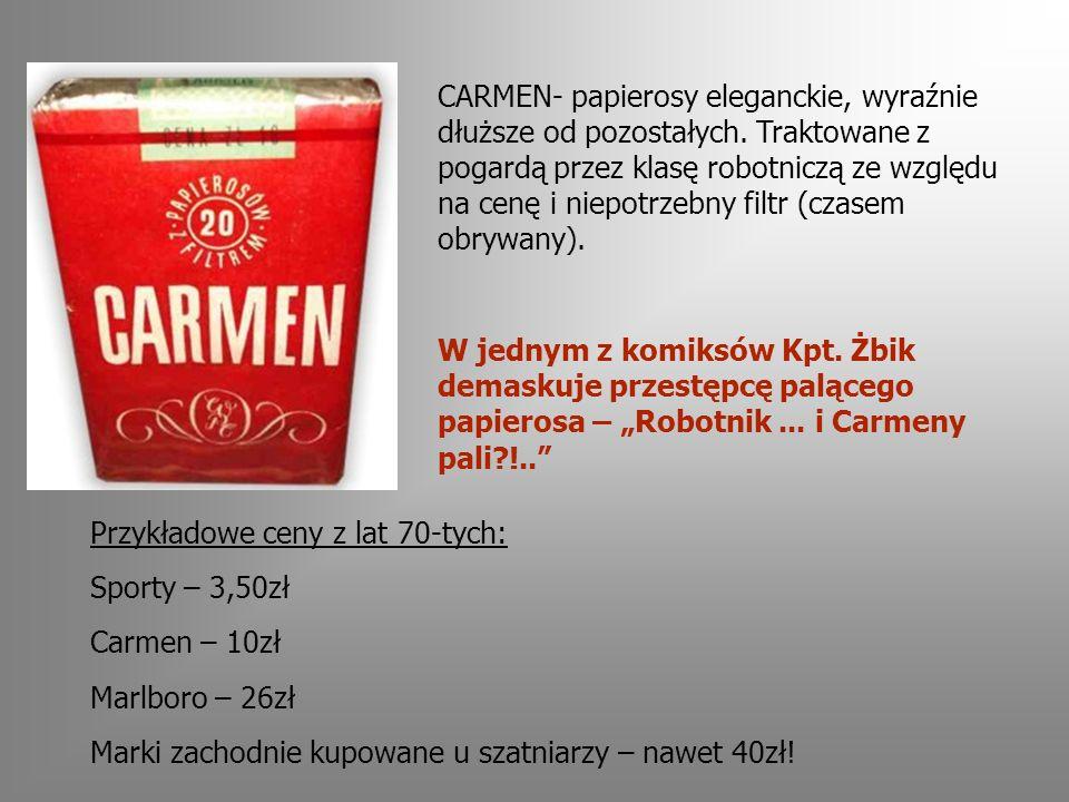 CARMEN- papierosy eleganckie, wyraźnie dłuższe od pozostałych.