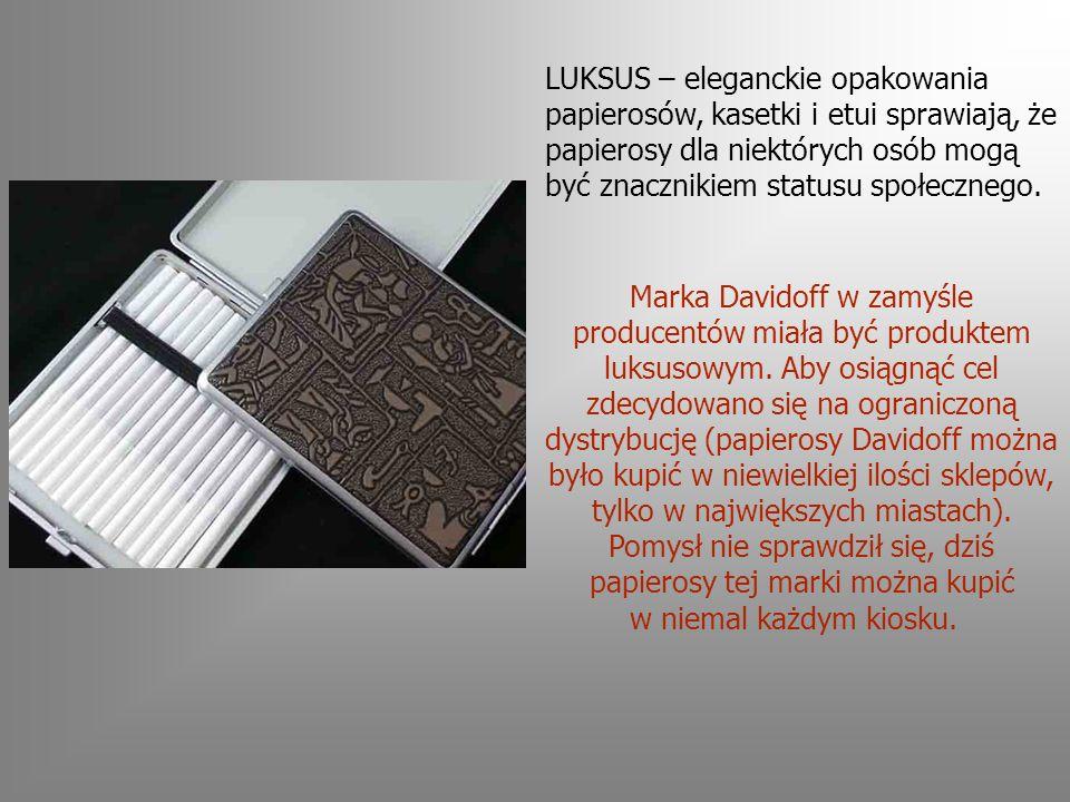 LUKSUS – eleganckie opakowania papierosów, kasetki i etui sprawiają, że papierosy dla niektórych osób mogą być znacznikiem statusu społecznego.
