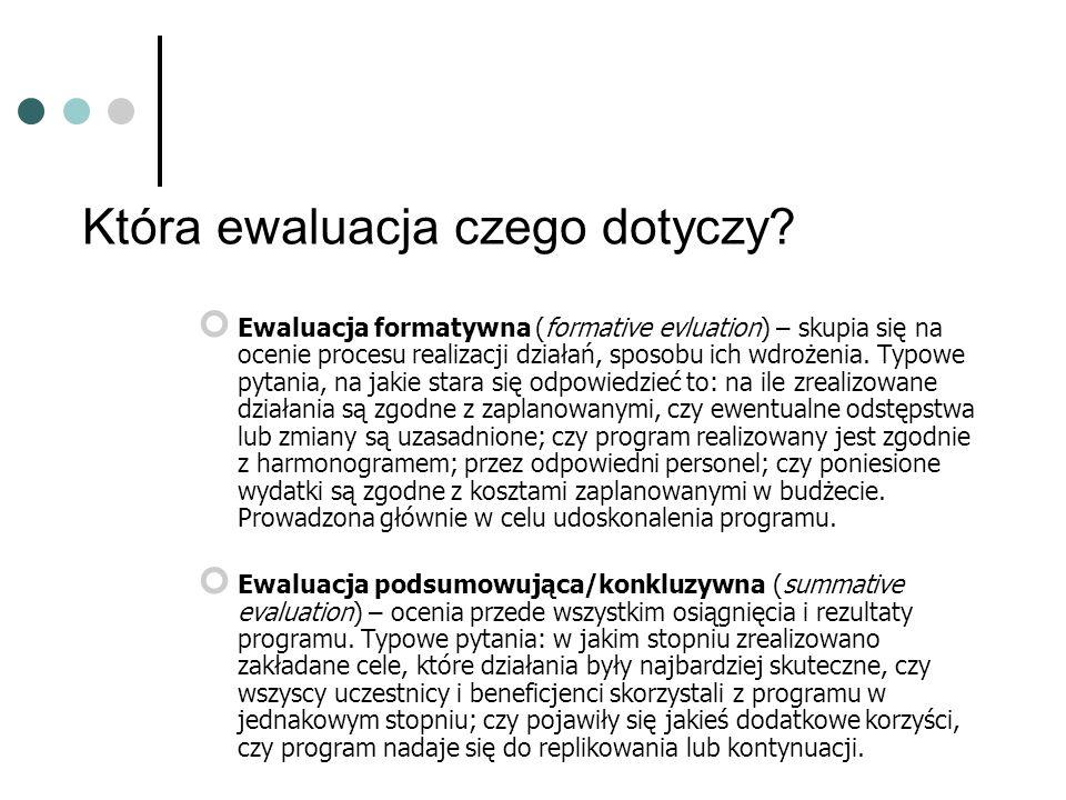 Ewaluacja formatywna (formative evluation) – skupia się na ocenie procesu realizacji działań, sposobu ich wdrożenia.
