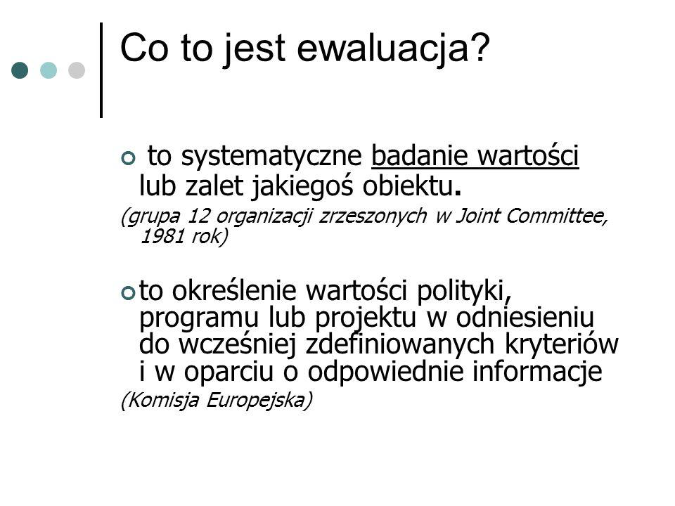Co to jest ewaluacja. to systematyczne badanie wartości lub zalet jakiegoś obiektu.