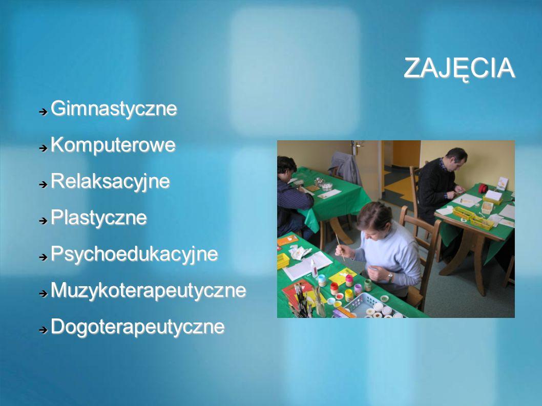 ZAJĘCIA ZAJĘCIA Gimnastyczne Gimnastyczne Komputerowe Komputerowe Relaksacyjne Relaksacyjne Plastyczne Plastyczne Psychoedukacyjne Psychoedukacyjne Mu