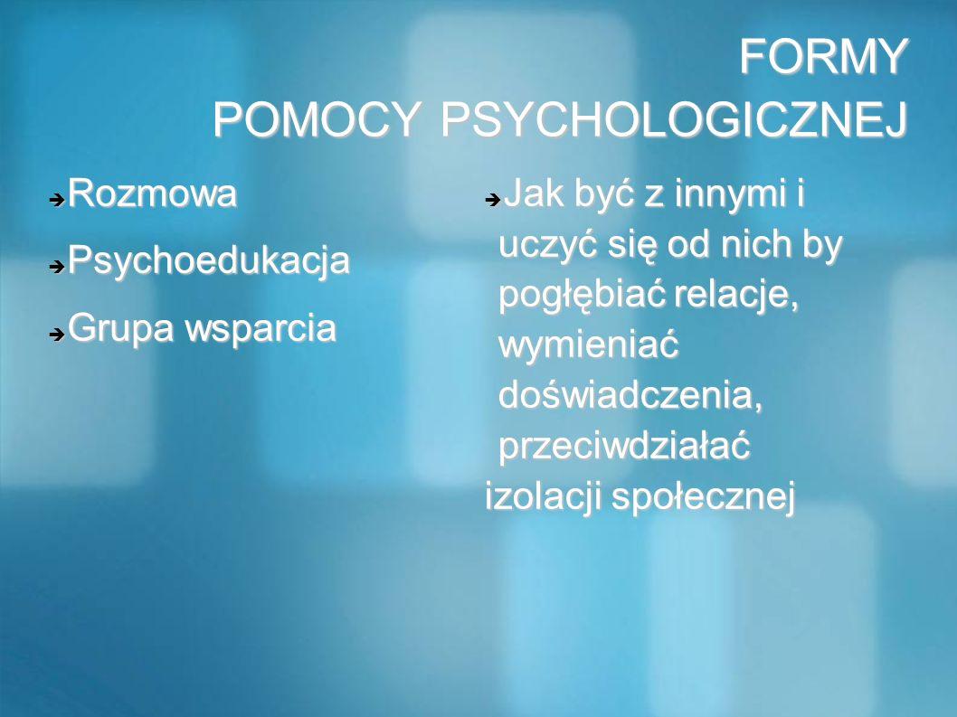 FORMY POMOCY PSYCHOLOGICZNEJ Rozmowa Rozmowa Psychoedukacja Psychoedukacja Grupa wsparcia Grupa wsparcia Jak być z innymi i uczyć się od nich by pogłę