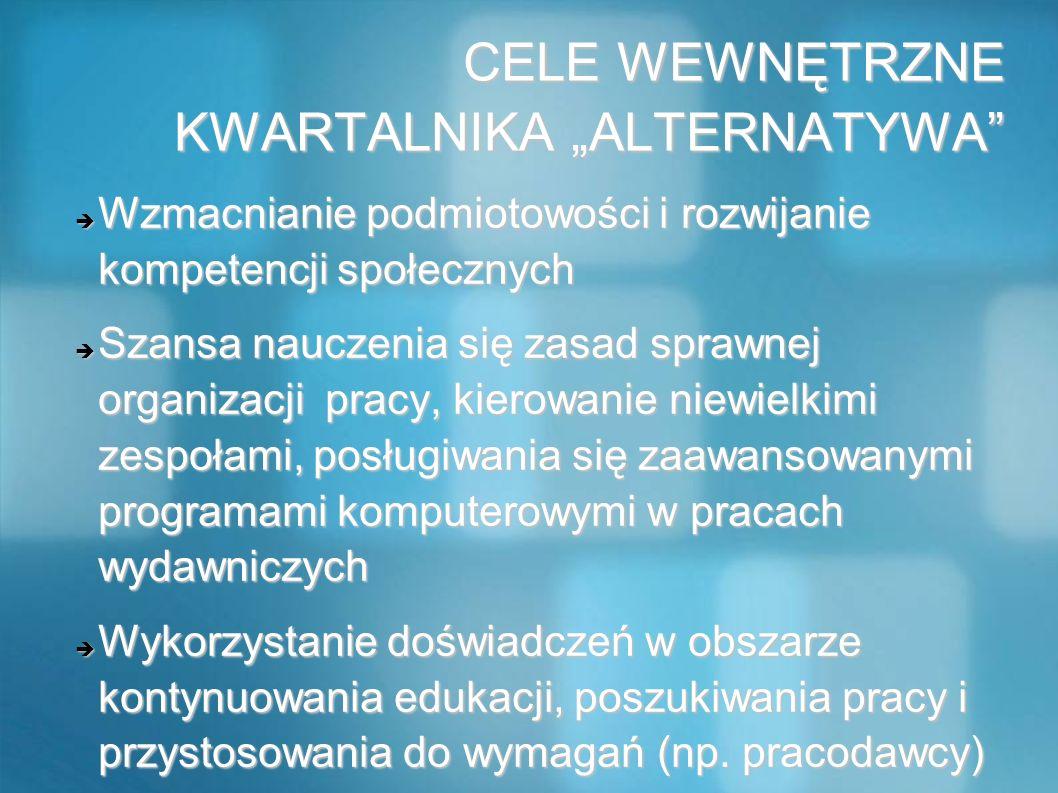 CELE WEWNĘTRZNE KWARTALNIKA ALTERNATYWA CELE WEWNĘTRZNE KWARTALNIKA ALTERNATYWA Wzmacnianie podmiotowości i rozwijanie kompetencji społecznych Wzmacni
