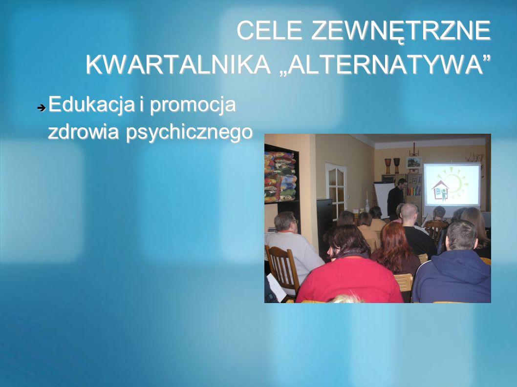 CELE ZEWNĘTRZNE KWARTALNIKA ALTERNATYWA CELE ZEWNĘTRZNE KWARTALNIKA ALTERNATYWA Edukacja i promocja zdrowia psychicznego Edukacja i promocja zdrowia p