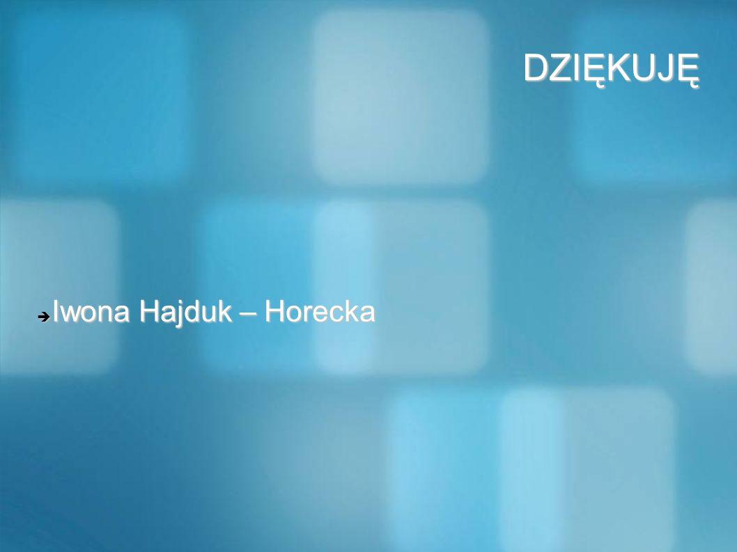 DZIĘKUJĘ DZIĘKUJĘ Iwona Hajduk – Horecka Iwona Hajduk – Horecka
