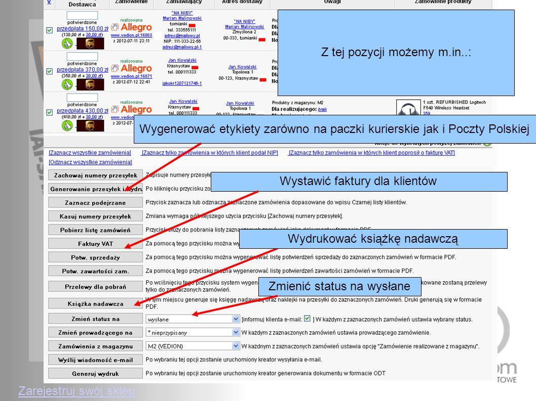 Z tej pozycji możemy m.in..: Wygenerować etykiety zarówno na paczki kurierskie jak i Poczty Polskiej Wystawić faktury dla klientówWydrukować książkę n