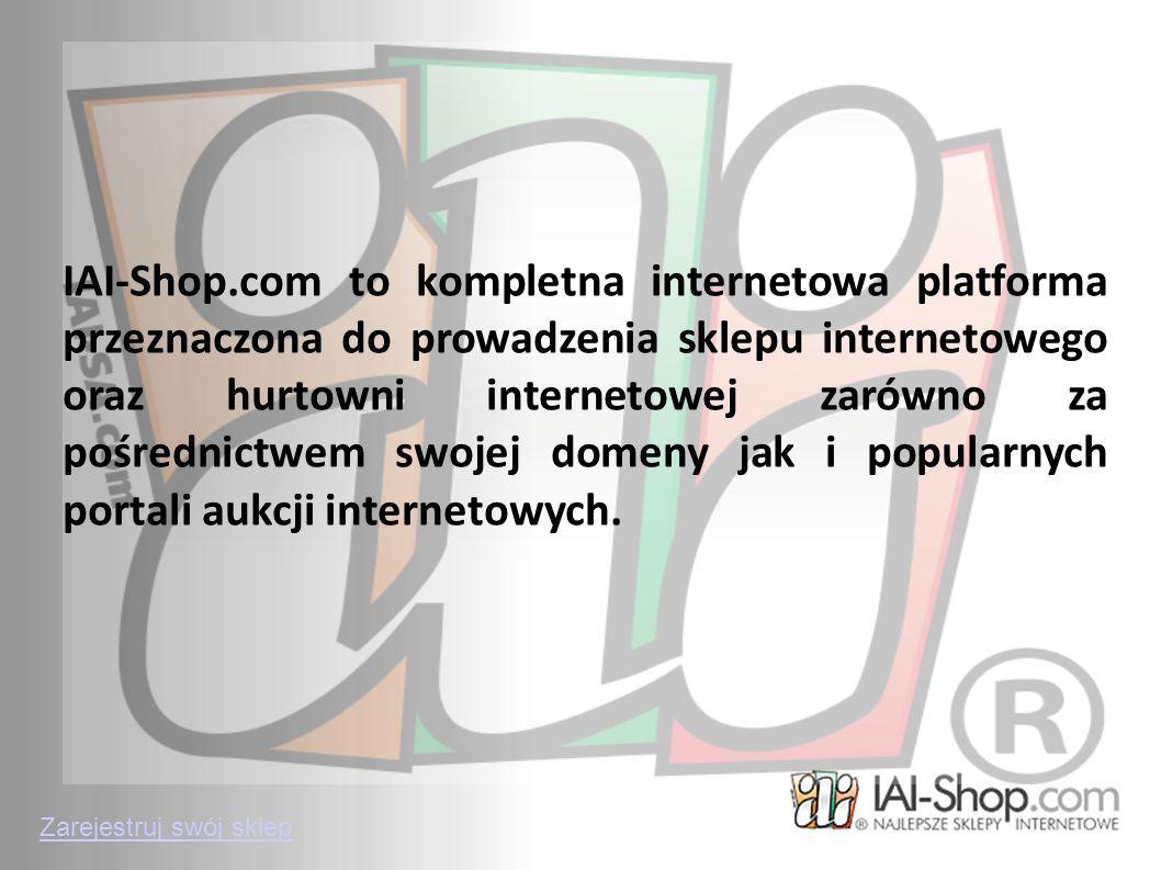 IAI-Shop.com to kompletna internetowa platforma przeznaczona do prowadzenia sklepu internetowego oraz hurtowni internetowej zarówno za pośrednictwem s