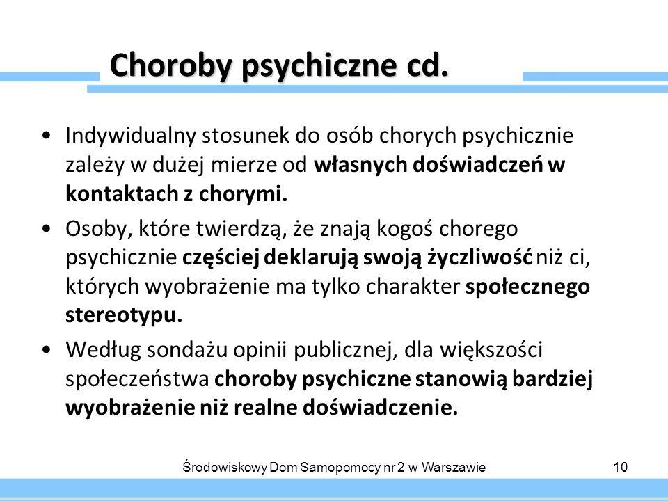 Choroby psychiczne cd. Indywidualny stosunek do osób chorych psychicznie zależy w dużej mierze od własnych doświadczeń w kontaktach z chorymi. Osoby,