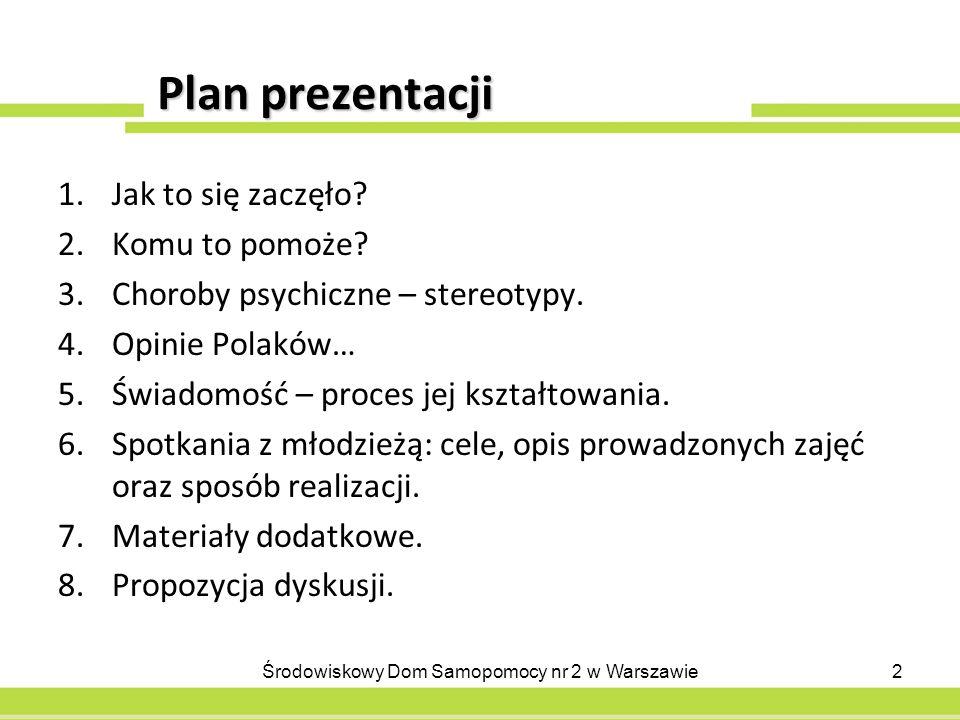 Plan prezentacji 1.Jak to się zaczęło? 2.Komu to pomoże? 3.Choroby psychiczne – stereotypy. 4.Opinie Polaków… 5.Świadomość – proces jej kształtowania.